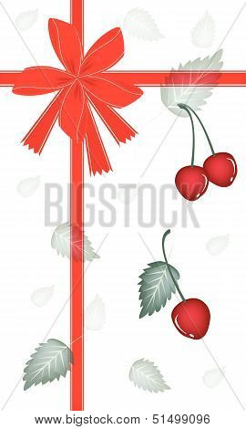 New Year Gift Card With Red Cherries