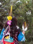 stock photo of female buffalo  - Female Native American in traditional dress leading a Buffalo Dance  - JPG