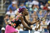 Nine times Grand Slam champion Venus Williams during her first round doubles match at US Open 2013