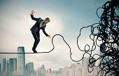 image of overcoming obstacles  - Concept of problem and difficulty of a businessman - JPG