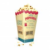foto of popcorn  - vector illustration of Movie Ticket printed on Popcorn box - JPG