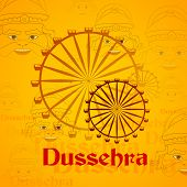 picture of dussehra  - vector illustration of giant wheel in Dussehra mela with Ravana - JPG