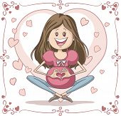 pic of padmasana  - Vector cartoon of a young pregnant woman, in a cute layout. File type: vector EPS AI8 compatible. 