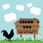 image of not found  - Abstract colorful background with a chicken staring at a wooden plate on which is written error 404 - JPG
