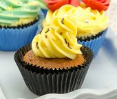 picture of torta  - Cupcakes decorated with buttercream served on a tray - JPG