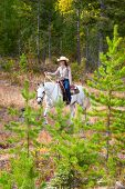 stock photo of reign  - Beautiful brunette cowgirl with her horse on a mountain trail ride - JPG