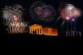 picture of akropolis  - Griechischer Tempel in Agrigento Sizilien Italien bei Nacht mit Feuerwerk - JPG