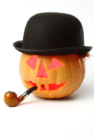 stock photo of tobaco leaf  - Halloween Jack o Lantern with a tobaco pipe and bowler - JPG