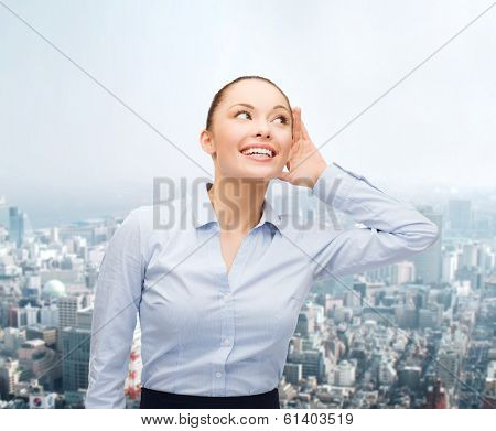 business, office and gossip concept - smiling businesswoman listening gossig outdoors