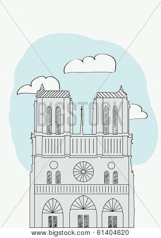 Notre Dame Cathedral. Paris. France. vector illustration for magazine or newspaper