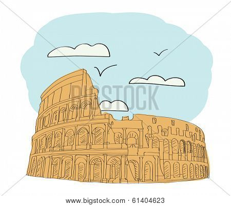 Great Colosseum, Rome, Italy. vector illustration for magazine or newspaper