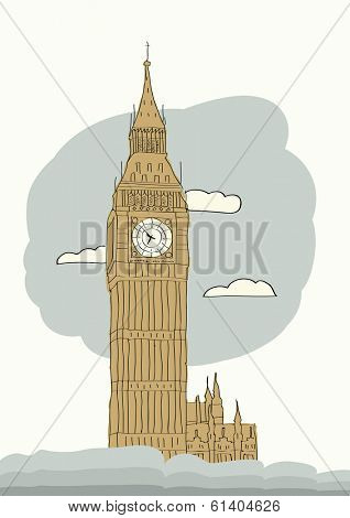Big Ben, London, England, UK. Hand Drawn Illustration. Vector background