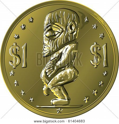 Vector Money Gold Coin Cook Islands Dollar With Maori God Tangaroa