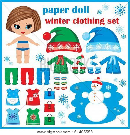 Paper Doll With Winter Clothes Set