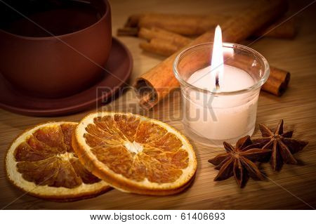 Hot winter tea with candlelight