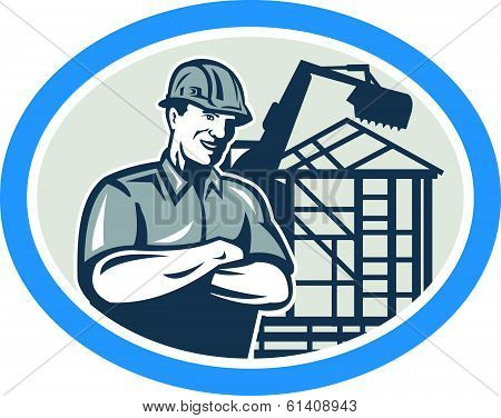 Builder Construction Worker Mechanical Digger Oval