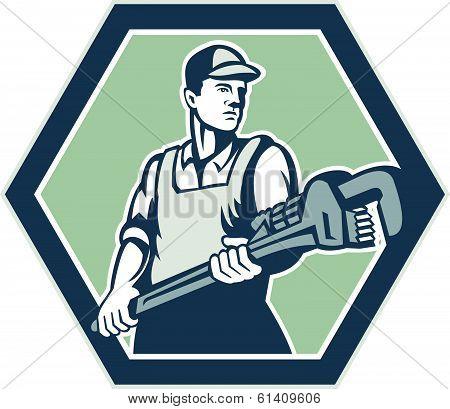 Plumber Holding Plumbing Wrench Retro