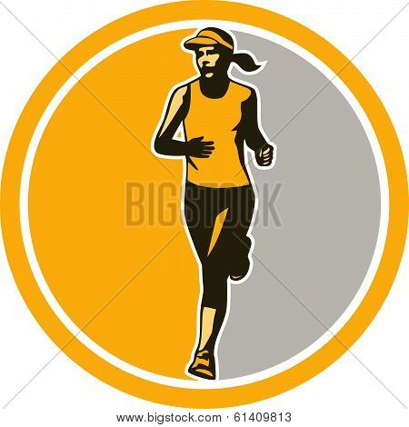 Female Triathlete Marathon Runner Circle Retro