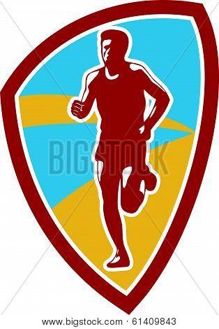 Marathon Runner Shield Retro