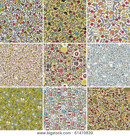 Big set of seamless doodle patterns.