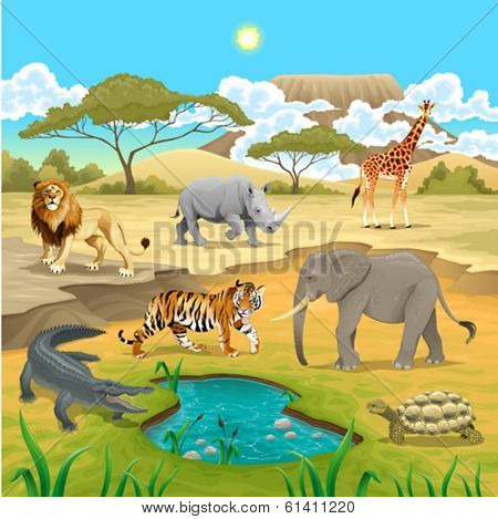African animals in the nature. Vector illustration
