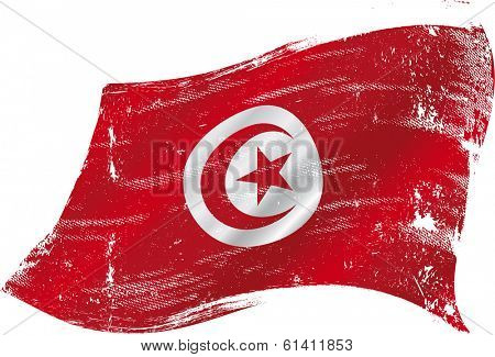 A grunge tunisian flag for you in the wind
