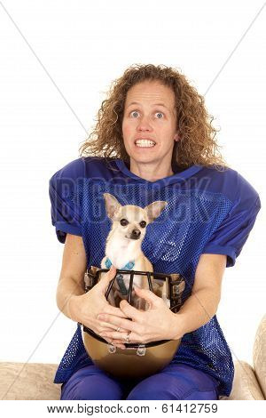 Woman Football Player Dog In Helmet