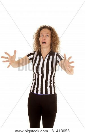 Woman Referee Hands Out Catch