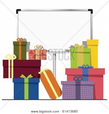 gift boxes and a white board