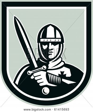Crusader Knight With Sword Front Crest