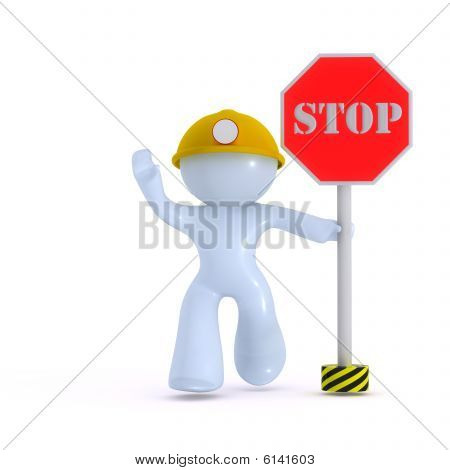 Stop! Construction worker.