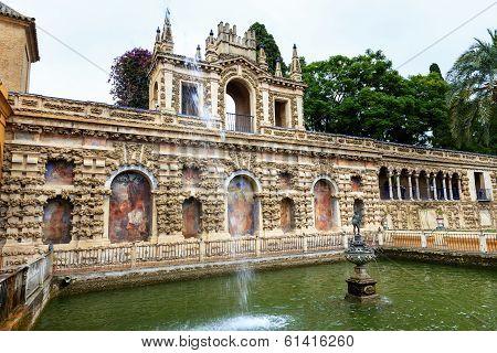 Mercury Hermes Fountain Statue Mosaics Pavilion Garden Alcazar Royal Palace Seville Spain