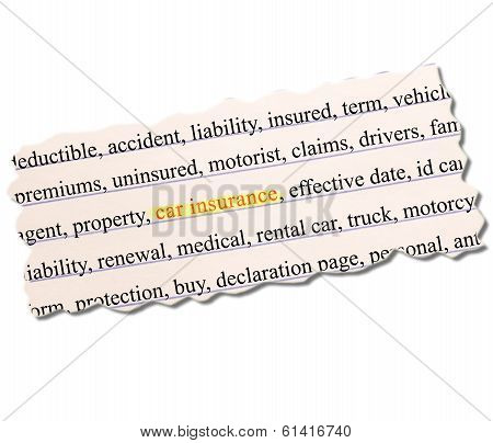 Car Insurance Paper Word Concept
