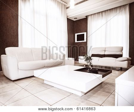 Modern interior design, white&brown colors in flat interiors, luxury sofa and table with little plant on it, comfortable apartment