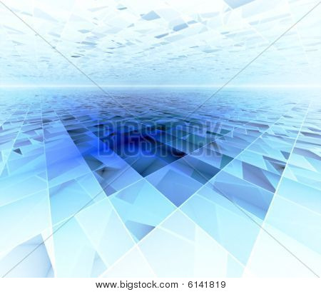 Blue Data Infinity - 3D fractal landscape