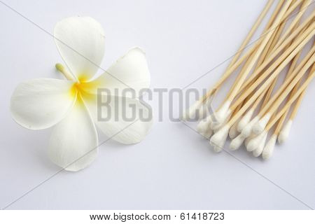 Cotton Swab Used For Cleaning Ear And Tropical Flowers
