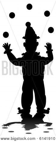Juggling clown silhouette