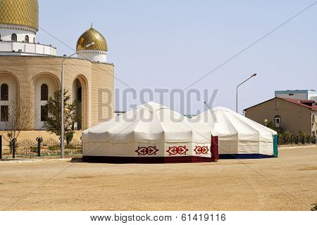 Yurts Are Near The Mosque.