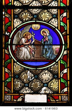 St. Gabriel and Blessed Virgin Mary (stained glass window)