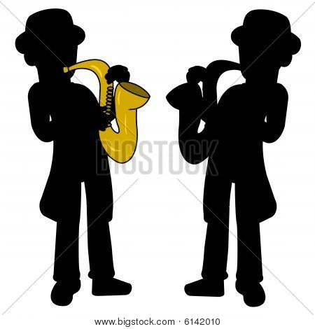 Saxophonist silhouettes