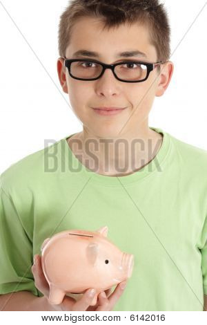 Smiling Boy Holds A Money Box