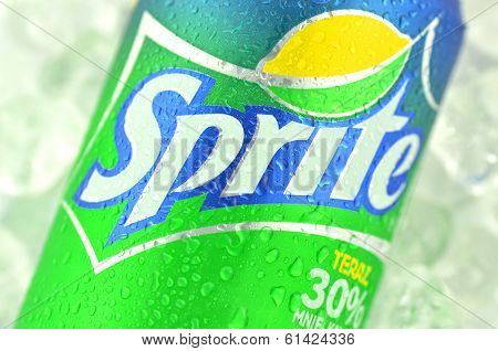 Can of Sprite drink on ice