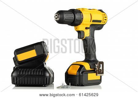 Handheld Cordless Power Drill, Battery, Charger And Screws.