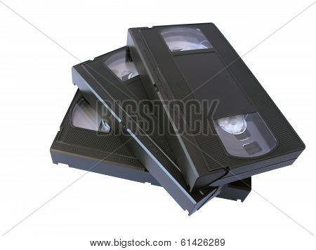 Retro Vhs Video Tapes, Isolated In White