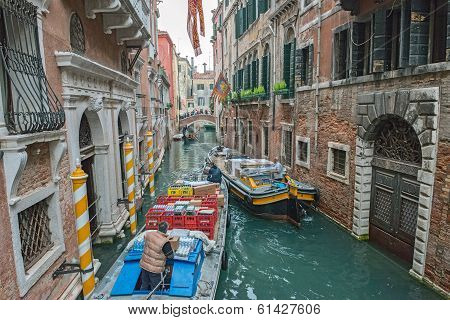The View Of Canal In Venice, Italy.
