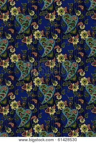 Blue pasley and light green flowers on a blue background