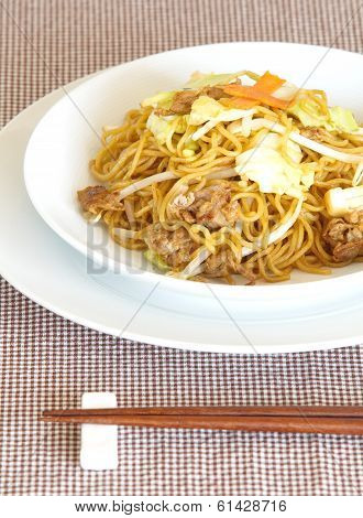 japanese yakisoba fried noodle with pork and vegetable