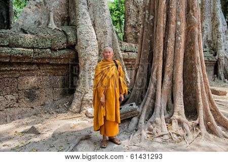 Buddhist monk at Ta Prohm