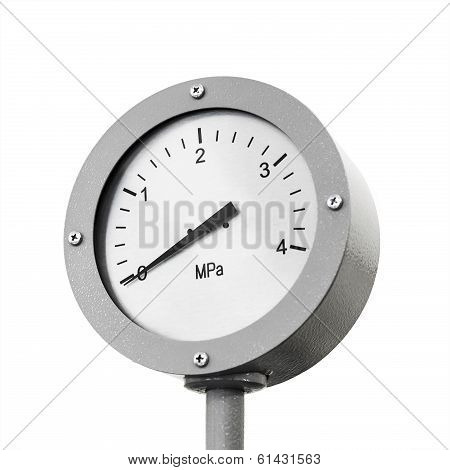 Industrial Manometer On Pipeline Isolated On White Background