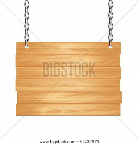 Wooden Sign On Chain Vector Illustration